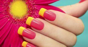 Наращивание ногтей фото новинки 2017 френч цветной красный с желтым