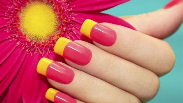 Наращивание ногтей фото новинки 2020 2021 френч цветной красный с желтым