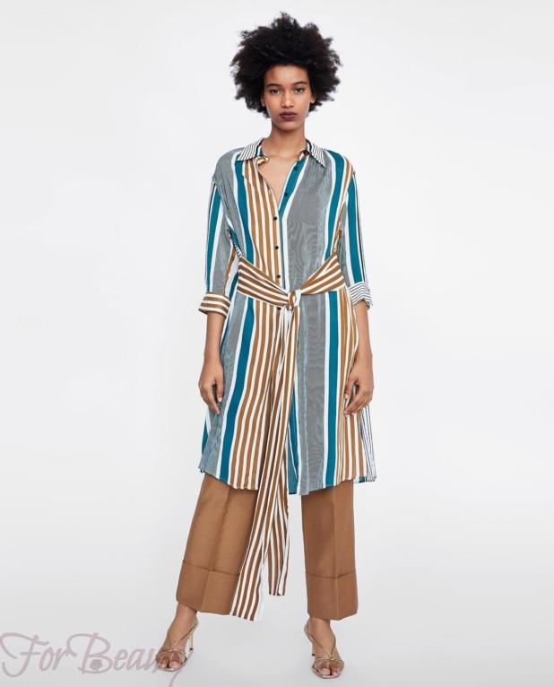 полосатое платье-рубашка женская 2018 2019