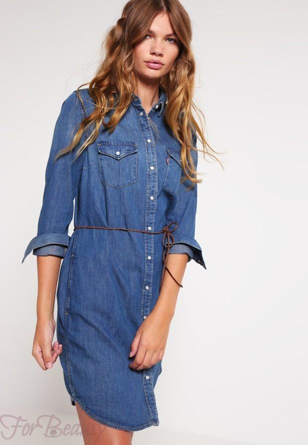 джинсовое платье-рубашка женская 2018 2019