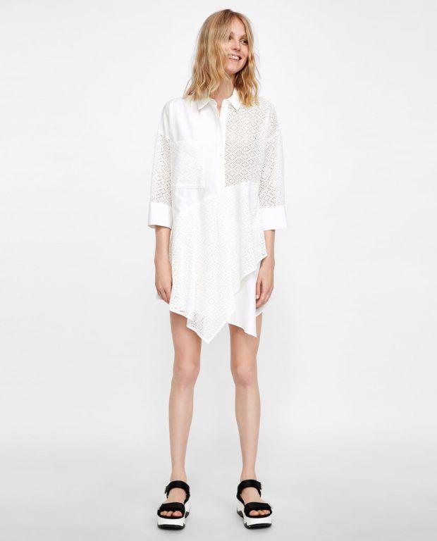 белое платье-рубашка женская 2019 2020