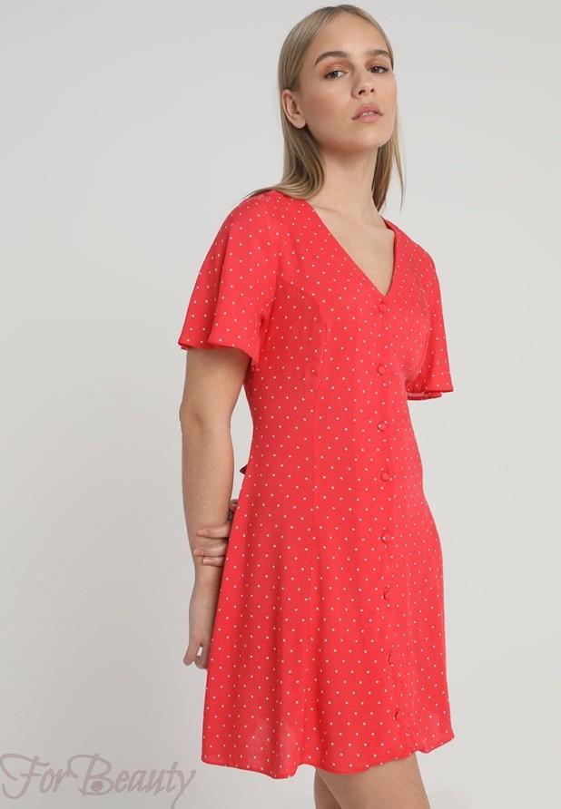 красное платье-рубашка женская 2018 2019