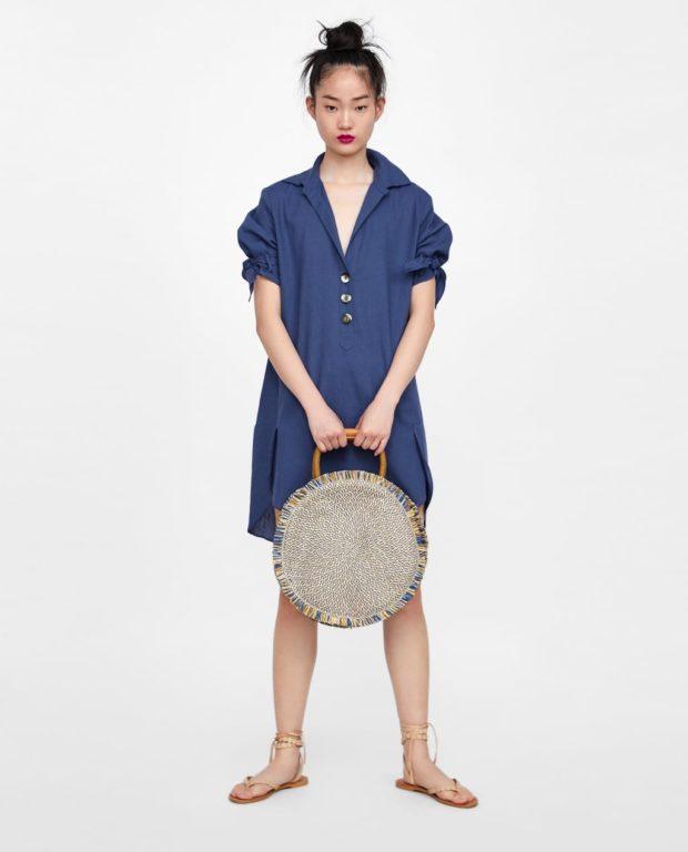 синее платье-рубашка женская 2019 2020