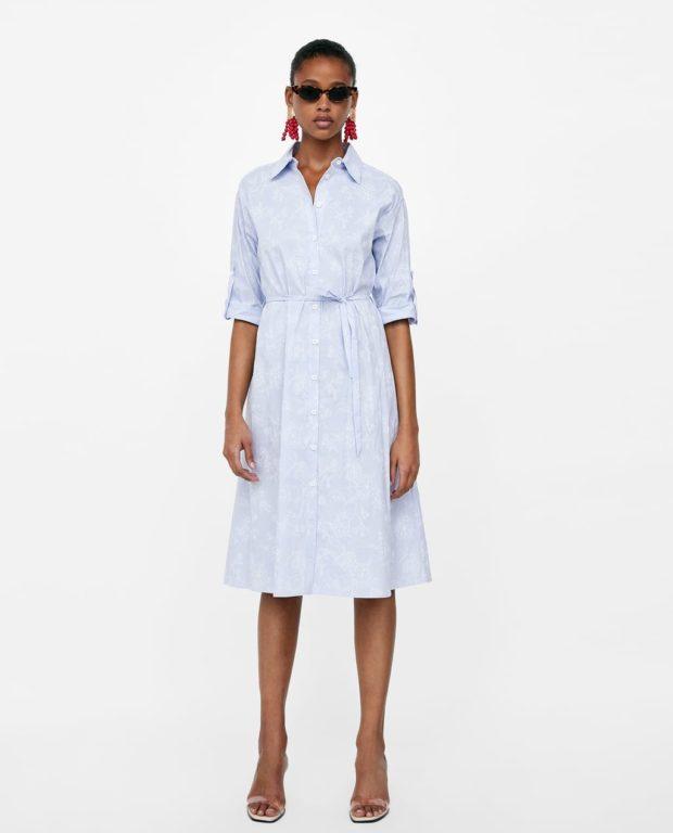 голубое платье-рубашка женская 2019 2020
