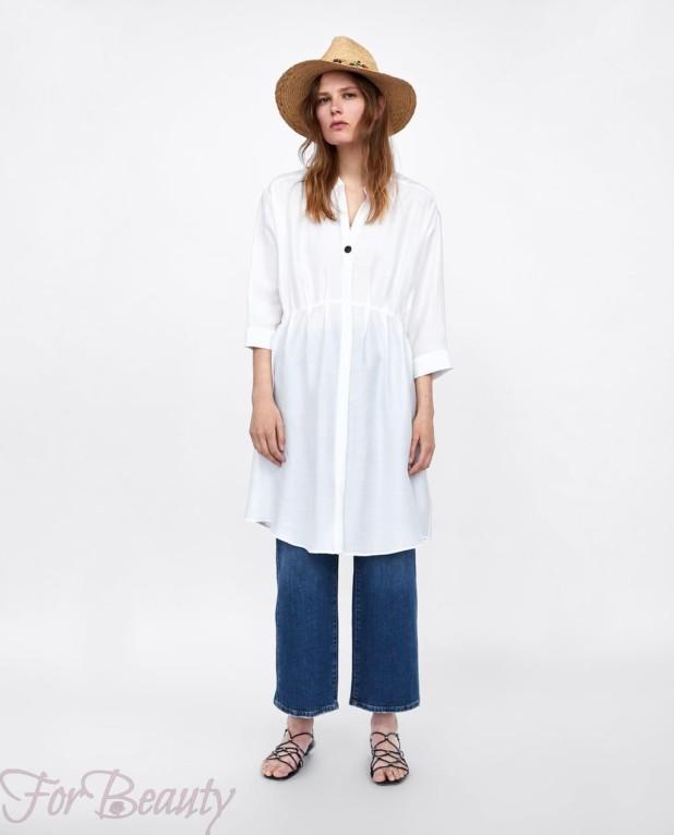 белое платье-рубашка женская 2018 2019