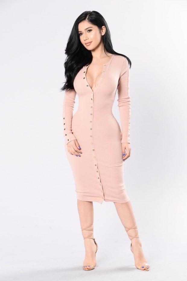 длинное прямое розовое с пуговицами