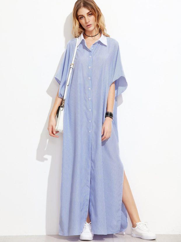 клетчатое платье-рубашка макси