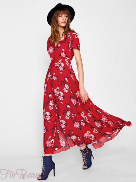 Красное платье-рубашка 2018 2019 фото новинки с принтом