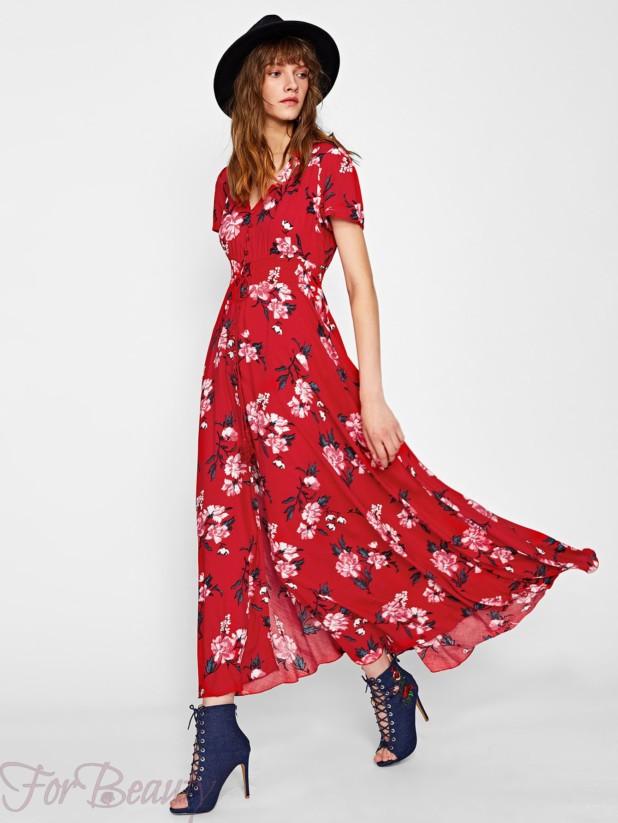 Красное платье-рубашка 2017 фото новинки с принтом