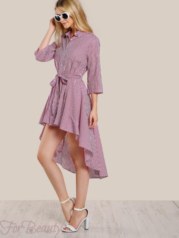 красивое асимметричноеплатье-рубашка 2017 фото новинки