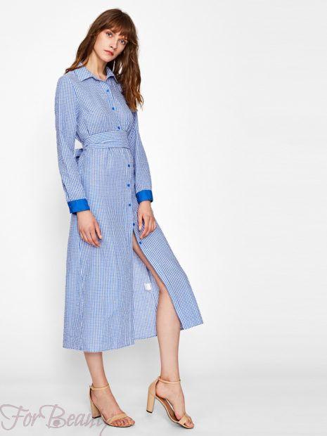 Голубое клетчатое платье-рубашка 2018 2019 фото новинки