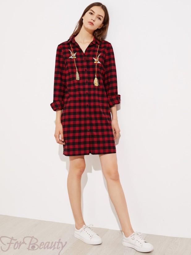 Клетчатое платье-рубашка 2017 фото новинки с вышивкой