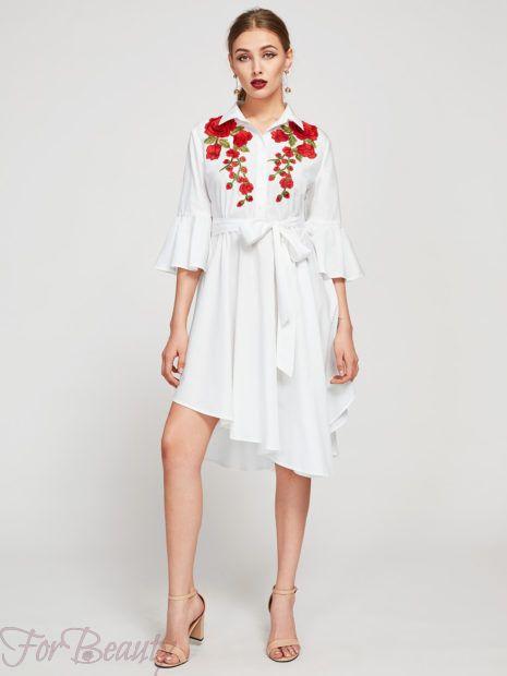 красивое асимметричноеплатье-рубашка 2018 2019 фото новинки с вышивкой