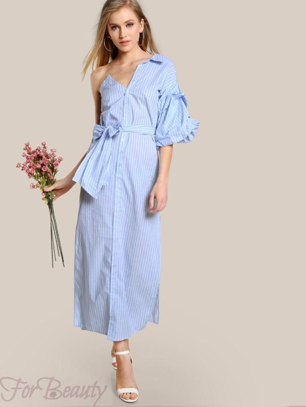 асимметричноеплатье-рубашка 2017 фото новинки с одним рукавом