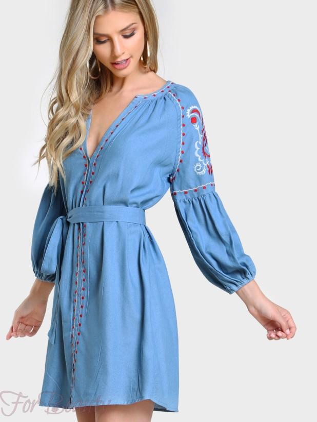 Джинсовое платье-рубашка 2017 фото новинки с вышивкой