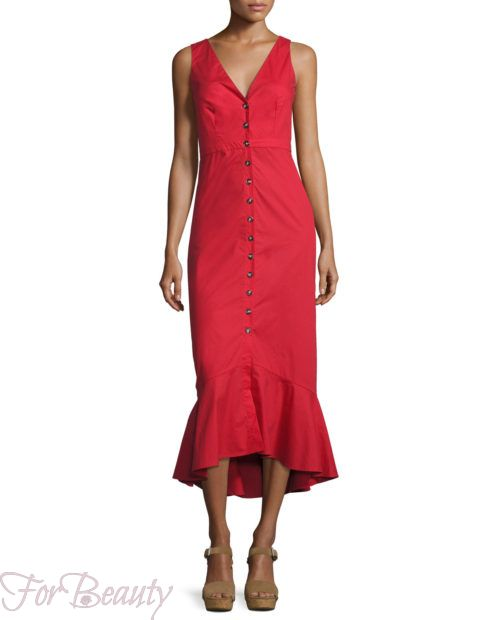 Красное платье-рубашка 2018 2019 фото новинки