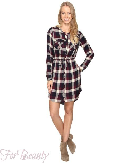 модное клетчатое платье-рубашка 2018 2019 фото новинки