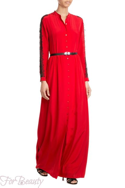 Красное платье-рубашка 2018 2019 фото новинки с поясом