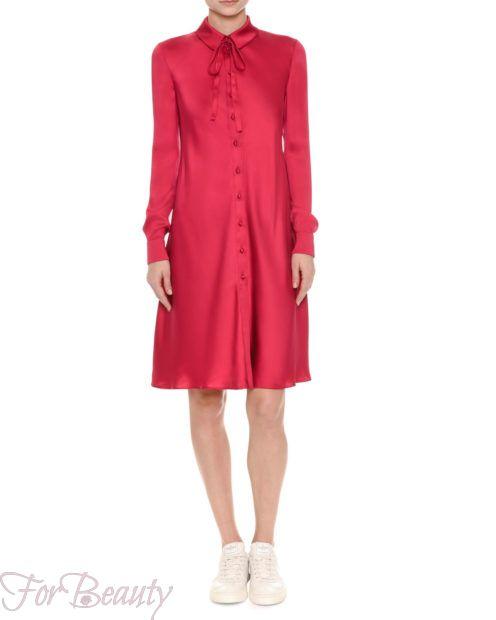 Красное платье-рубашка 2018 2019 фото новинки атласное