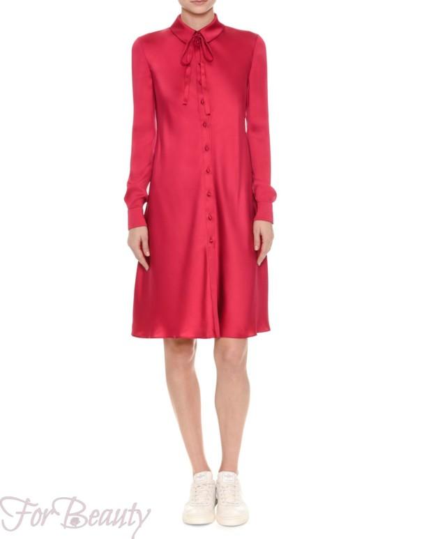 Красное платье-рубашка 2017 фото новинки атласное