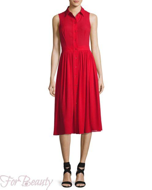 Красное платье-рубашка 2018 2019 фото новинки без рукавов