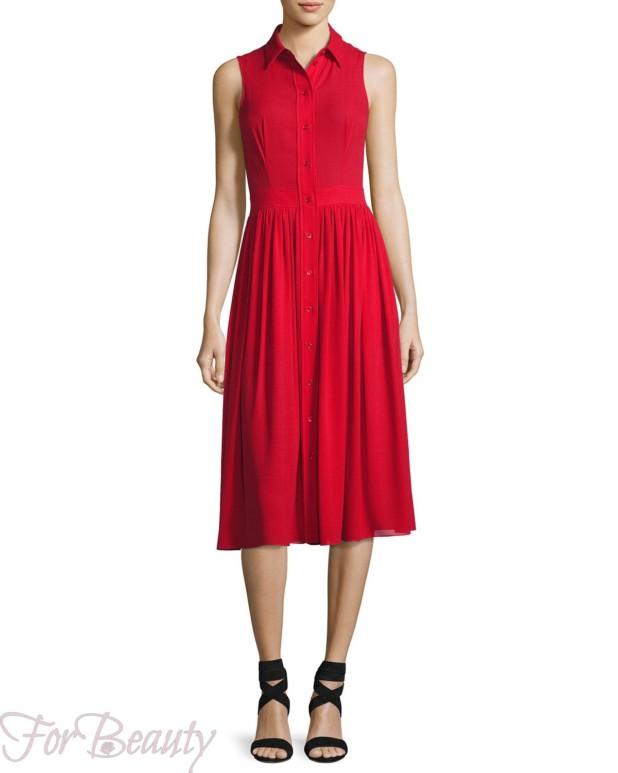 Красное платье-рубашка 2017 фото новинки без рукавов