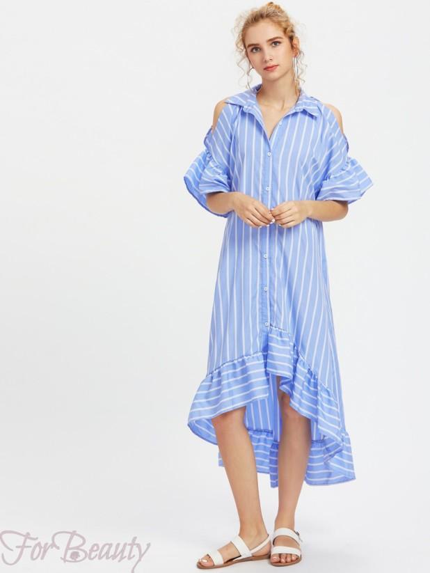 голубое асимметричноеплатье-рубашка 2017 фото новинки