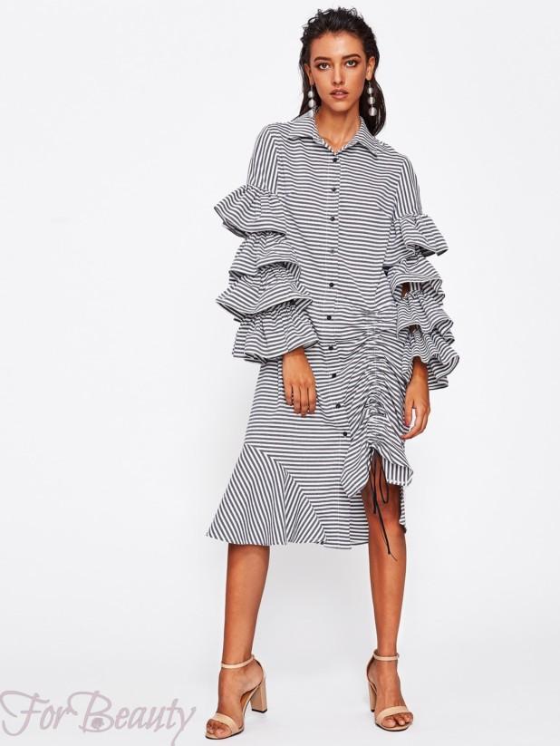 полосатое асимметричноеплатье-рубашка 2017 фото новинки