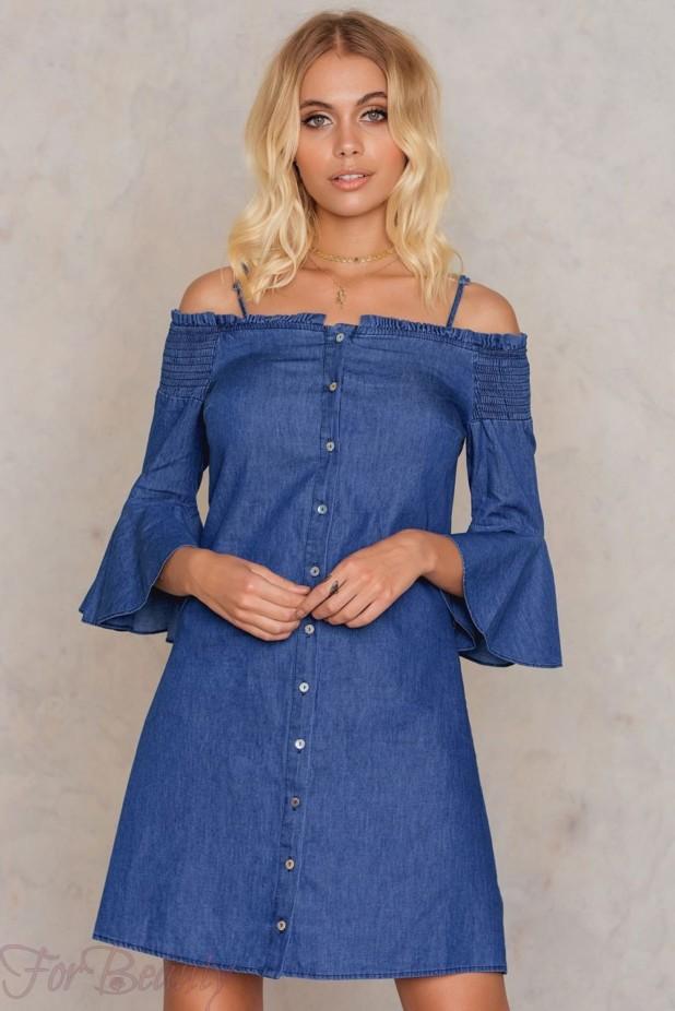 Джинсовое платье-рубашка 2018 2019 фото новинки мини