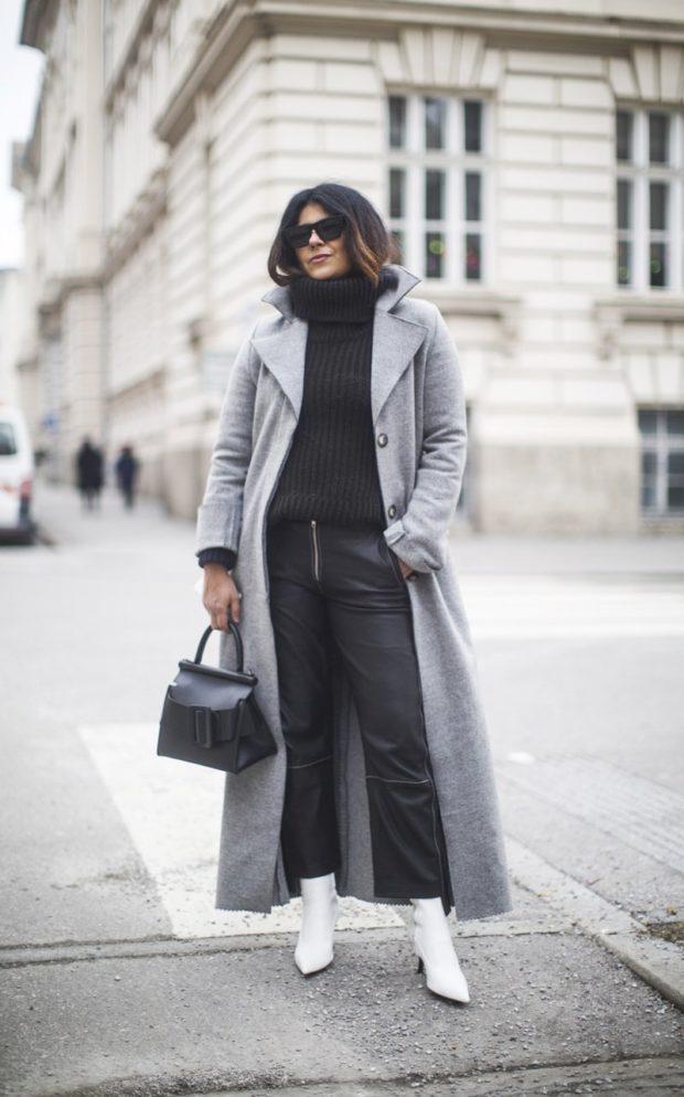 образ с серым пальто