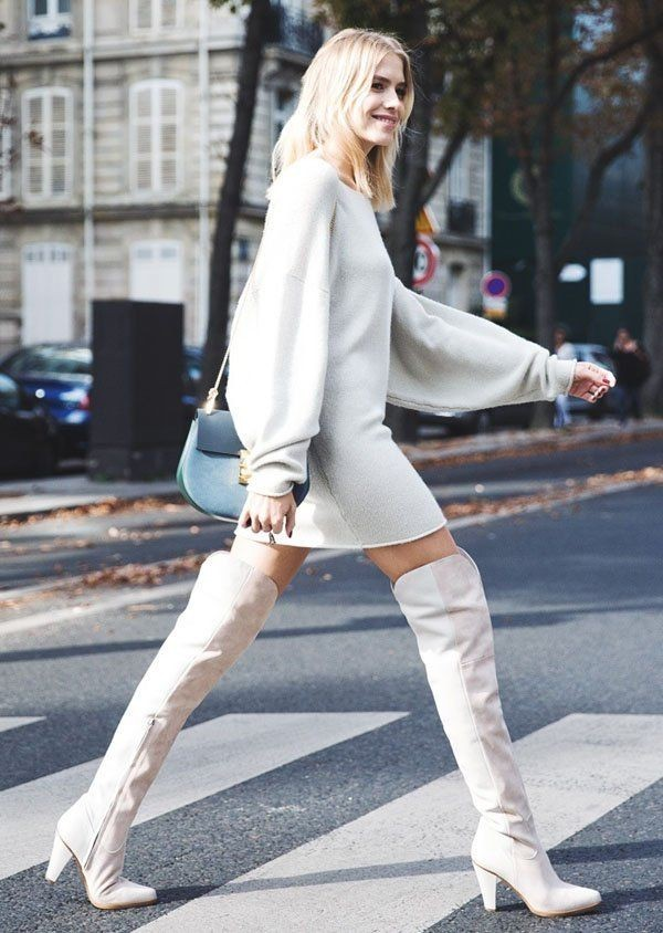 С чем можно носить высокие белые сапоги осенью