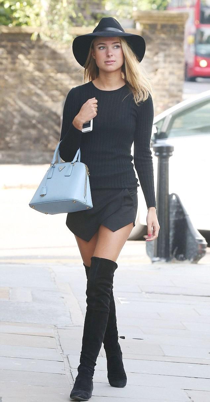 С чем носить черные замшевые сапоги без каблука 2017 фото