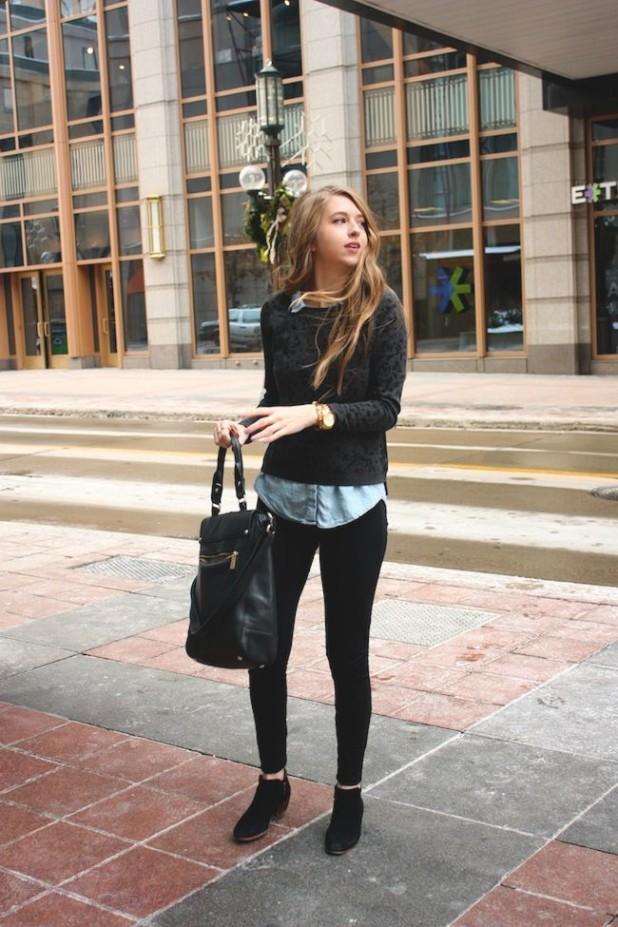 С чем носить черные замшевые ботинки