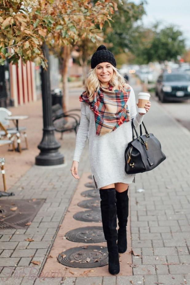 С чем носить черные замшевые ботфорты осенью