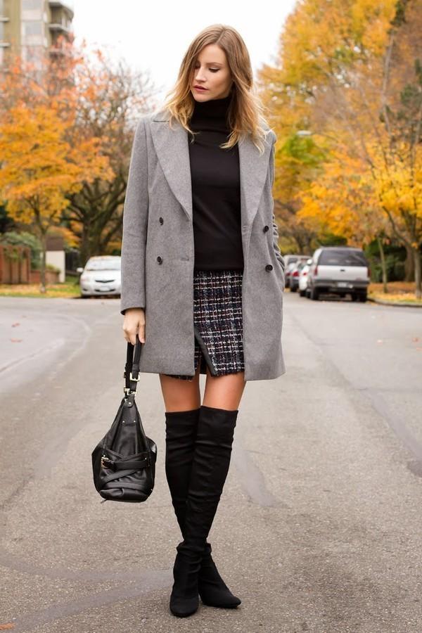 С чем носить черные замшевые сапоги на каблуке осенью