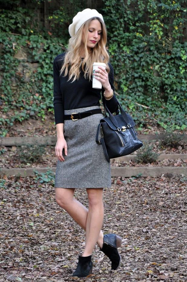 с какими юбками носить черные замшевыеботильоны