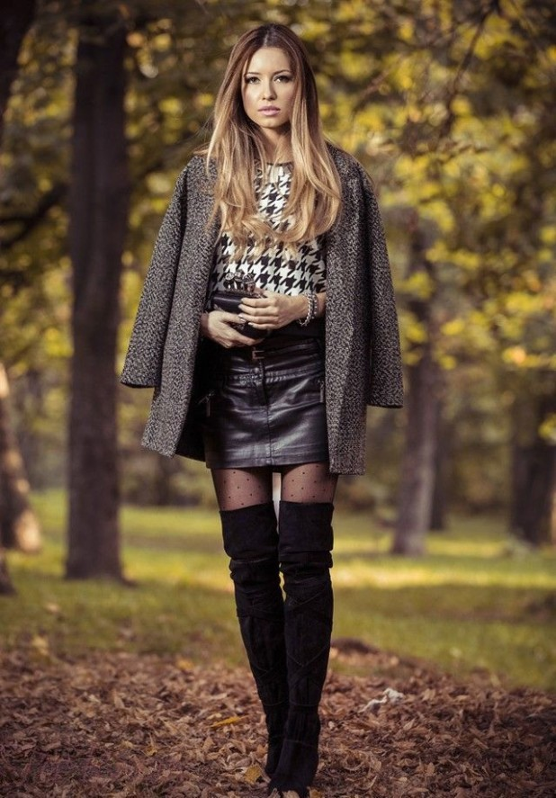 С чем же можно носить черные замшевые ботфорты осенью