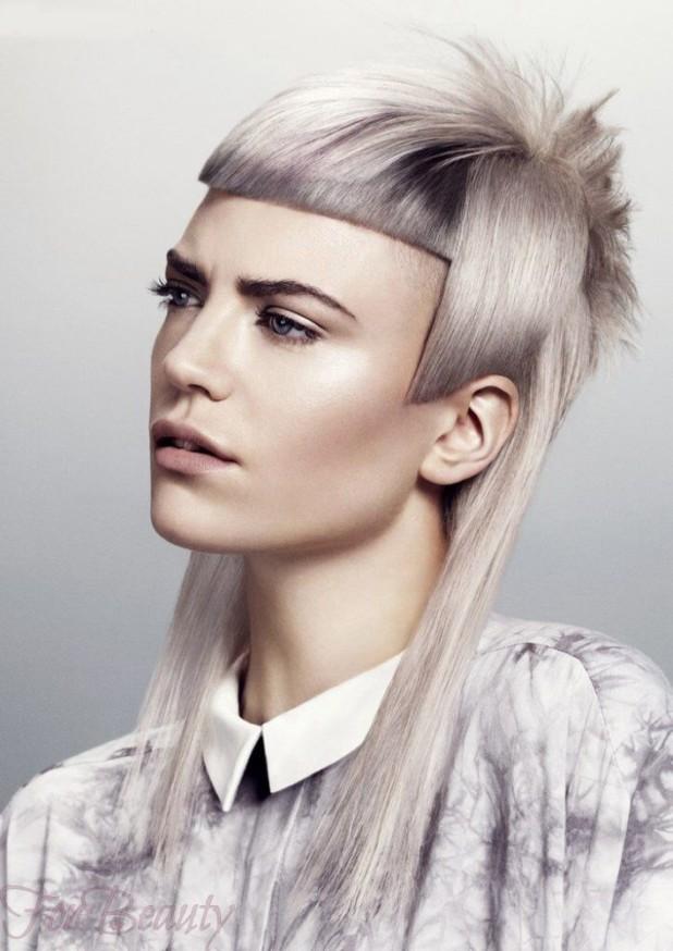 Женская необычная стрижка «Асимметрия» на длинные волосы 2018