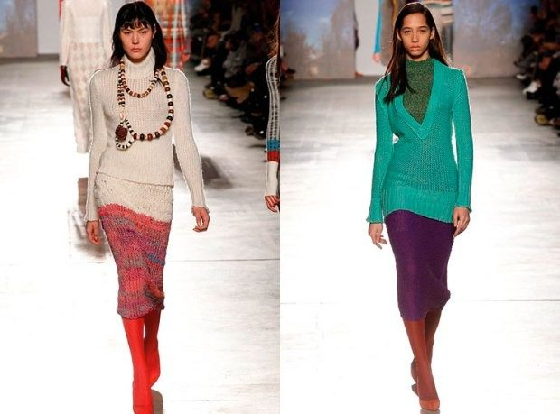 Модные вязанные юбки-карандаш