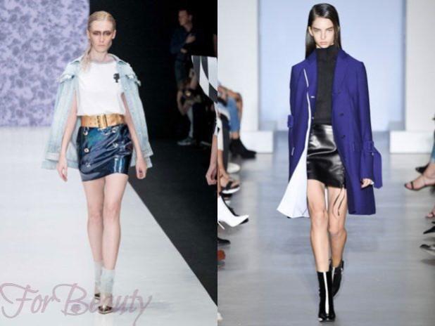 Кожаные черные юбки 2018 года модные тенденции