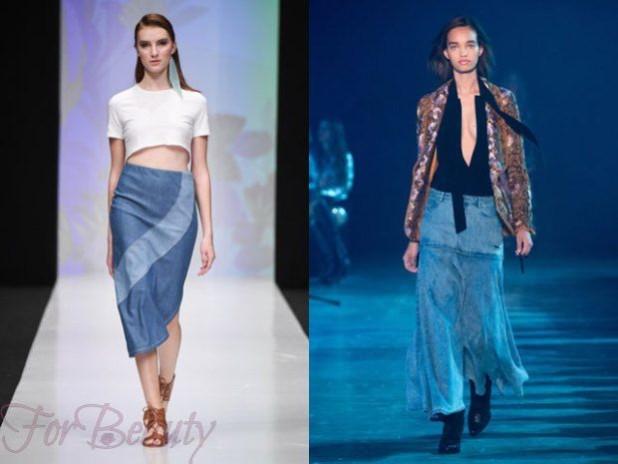 Джинсовые длинные юбки 2018 года модные тенденции