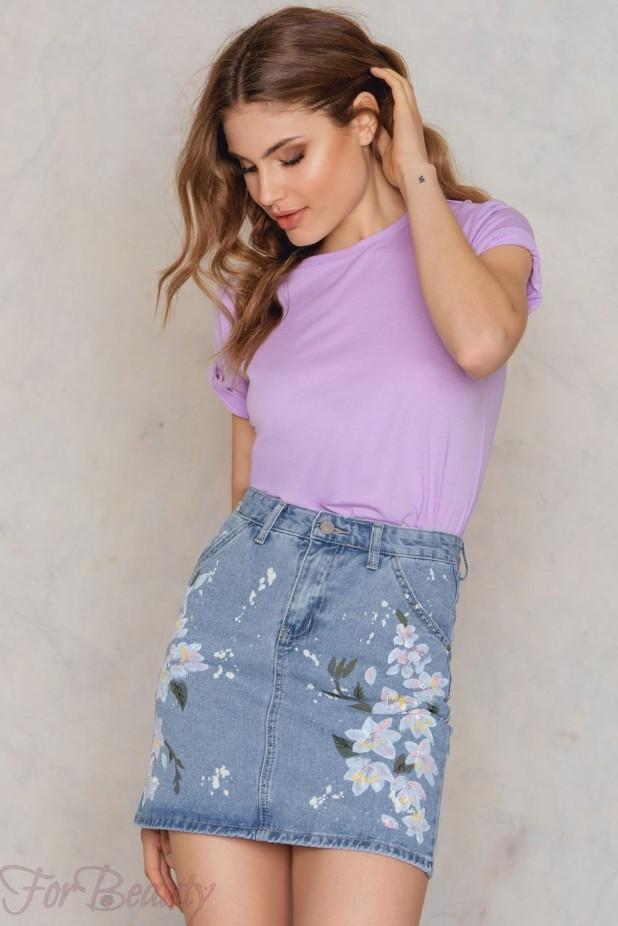 Модные джинсовые юбки с вышивкой 2018 года модные тенденции