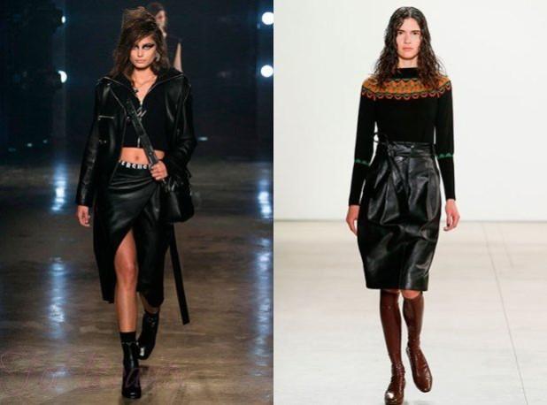 Кожаные юбки 2018 года модные тенденции фото