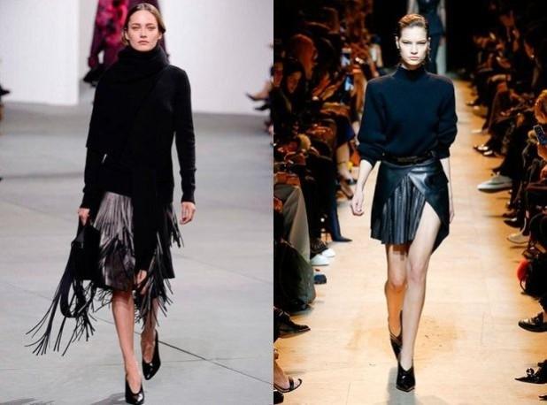 короткие юбки 2018 2019 года модные тенденции: кожаные