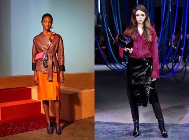 Кожаные яркие юбки 2018 2019 года модные тенденции