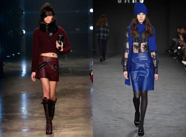 Модные короткие юбки 2018 2019 года: бордовая и синяя