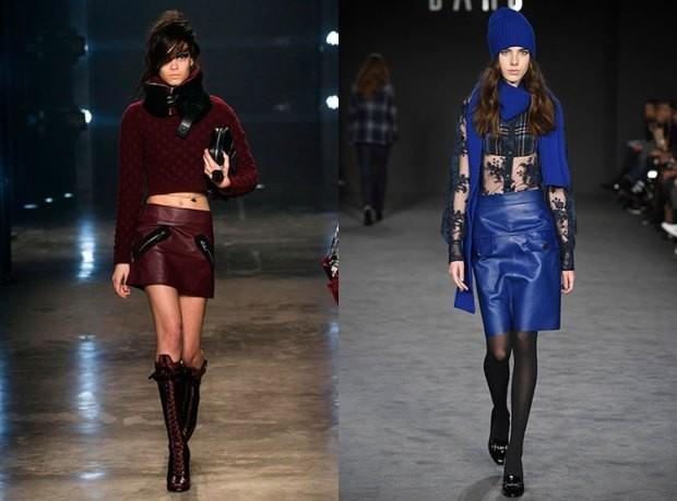 Модные короткие бордовая и синяя