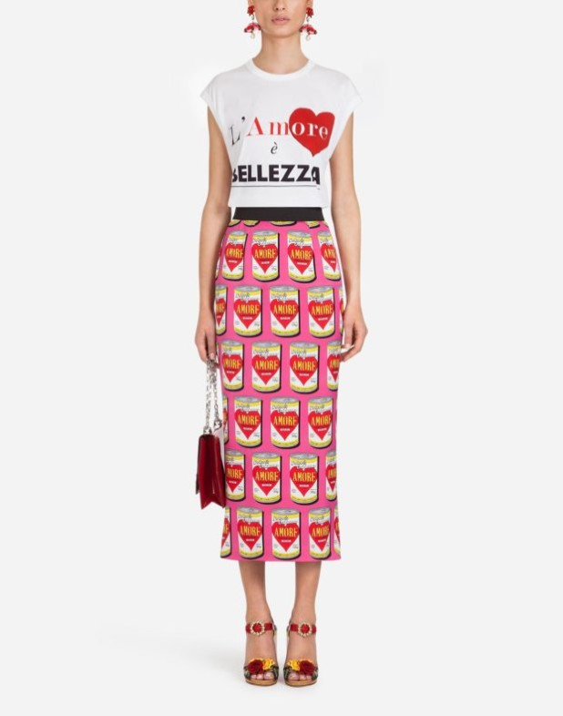 Модная юбка 2018-2019: розовая с принтом