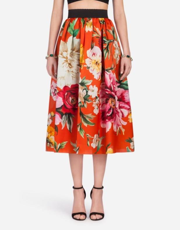 Модная юбка 2018 2019: оранжевая с принтом