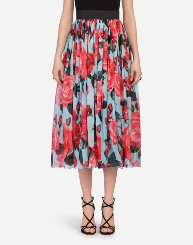 Модная юбка 2018 2019: голубая с цветами